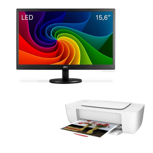 "[INN03366] Combo Monitor AOC 15.6"" E1670SWU-E Wide + Impresora HP Deskjet Ink Advantage 1115"